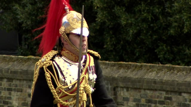 Exterior shots of the Household Cavalry Mounted Regiment preparing for State Visit in full ceremonial dress on April 08 2014 in London England