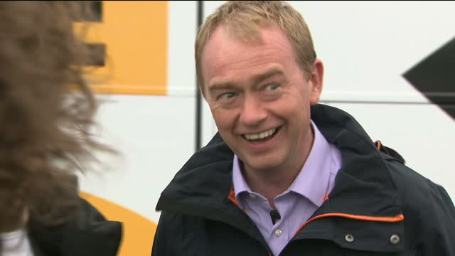 Exterior shots of the Liberal Democrat election campaign bus arriving at Pen Y Derw Farm near Welshpool and Liberal Democrat leader Tim Farron being...