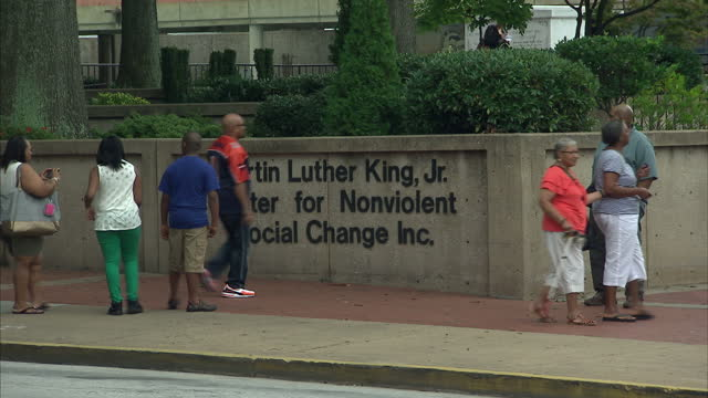 Exterior shots of the Martin Luther King Jr Center for Nonviolent Social Change with sign and monument to Martin Luther King outside on August 28...