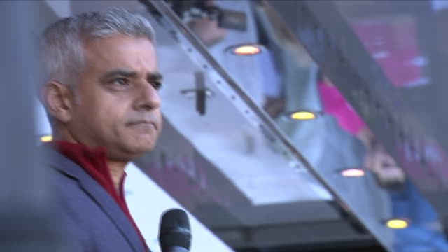 Exterior shots of the Mayor of London Sadiq Khan during speech at People's Vote event in support of second Brexit referendum on 20th October 2018 in...