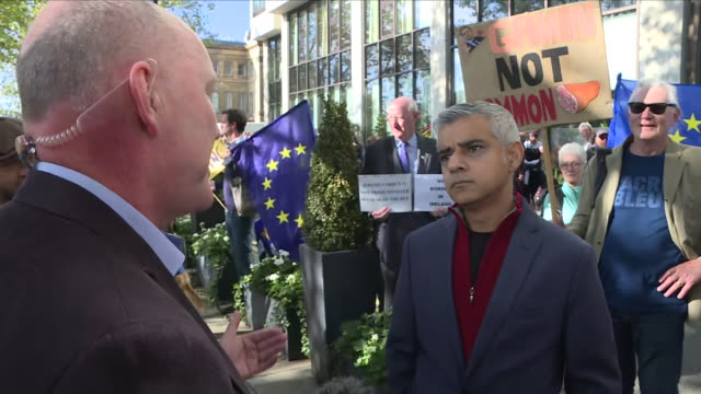 Exterior shots of the Mayor of London Sadiq Khan interview during People's Vote march for second Brexit referendum on 20th October 2018 in London...