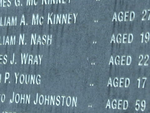stockvideo's en b-roll-footage met exterior shots of the memorial listing the names of those killed in the bloody sunday massacre - britse leger