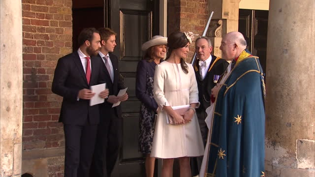 Exterior shots of The Middleton family including Pippa James and Carole Middleton departing Chapel Royal and speaking with vicars before walking off...