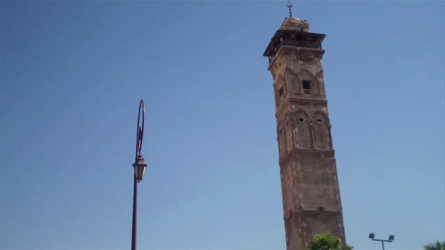 Exterior shots of the minaret and entrance to the Umayyad mosque which has subsequently been destroyed in the Syrian Civil War on May 1 2011 in...
