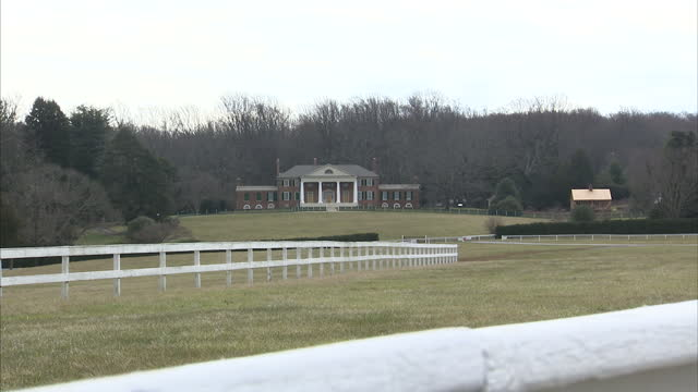 exterior shots of the montpelier estate plantation house home of the madison family including james madison fourth president of the united states... - steeplechase stock videos and b-roll footage