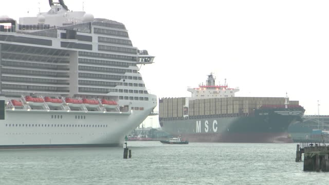 exterior shots of the msc bellissima cruise liner sailing into southampton docks ahead of its naming ceremony on 1 march 2019 in southampton, united... - cruising stock videos & royalty-free footage