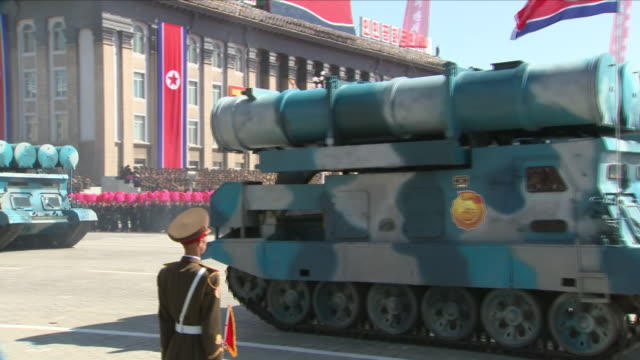 exterior shots of the north korean 70th anniversary parade, to mark 70 years since the nation's foundin on september 09, 2018 in pyongyang, north... - paraden stock-videos und b-roll-filmmaterial