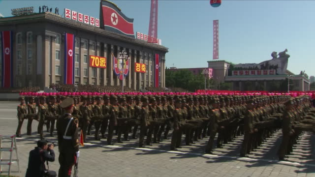 exterior shots of the north korean 70th anniversary parade to mark 70 years since the nation's foundin on september 09 2018 in pyongyang north korea - north korea stock videos & royalty-free footage