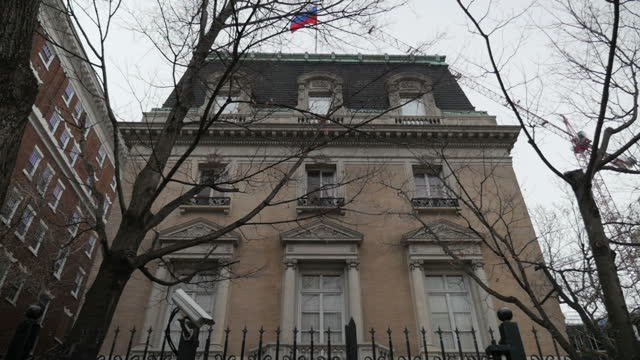 exterior shots of the old russian embassy now the residence of the russian ambassador to the us on 14 february 2017 in washington dc - government building stock videos and b-roll footage