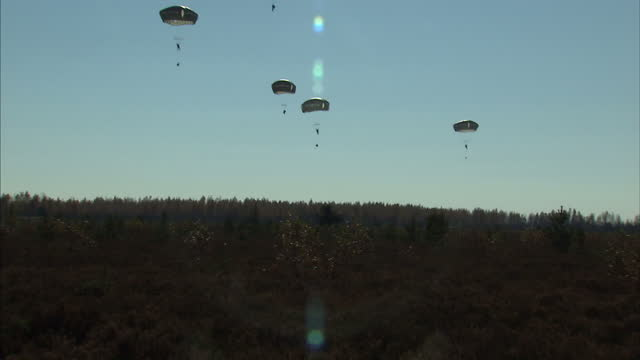 exterior shots of the paratroopers assigned to 2nd battalion 503rd infantry regiment 173rd airborne brigade parachuting down from a military aircraft... - battalion stock videos and b-roll footage