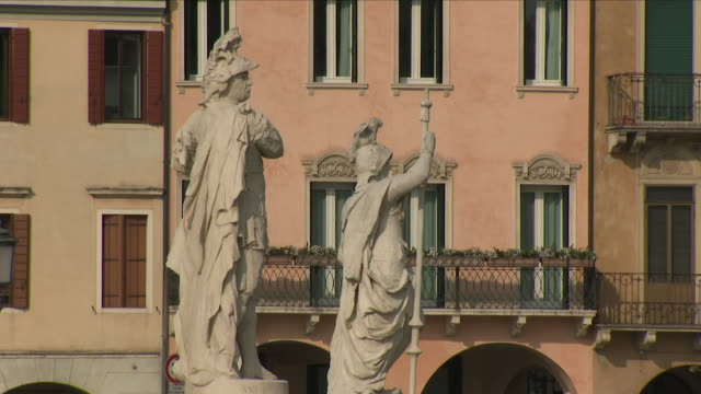 exterior shots of the prato della valle showing various statues and and bridge in padua 27th february 2018 italy - prato stock videos and b-roll footage