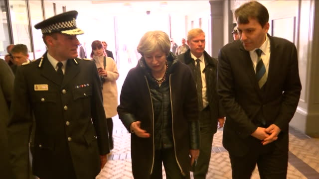 stockvideo's en b-roll-footage met exterior shots of the prime minister theresa may being shown around salisbury by kier pritchard on 15th march 2018 in salisbury united kingdom - wiltshire