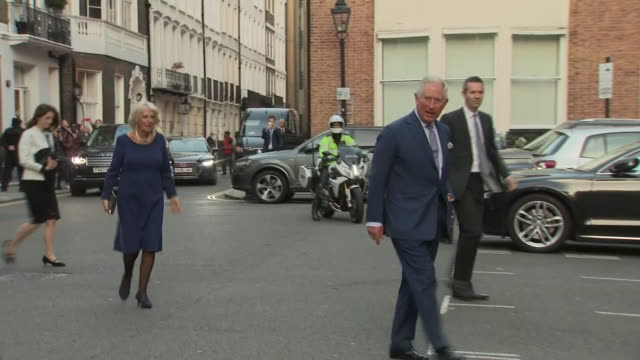 exterior shots of the prince of wales and the duchess of cornwall arriving at st james' palace pose for photographs and chat to reporters on 14... - prinz von wales stock-videos und b-roll-filmmaterial