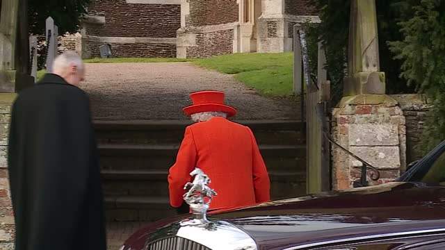 Exterior shots of the Queen and Camilla Duchess of Cornwall arriving at St Mary Magdalene church to attend the Christmas Day service as members of...