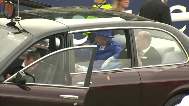 Exterior shots of The Queen and Duke of Edinburgh arriving at Epsom race course Queen Elizabeth II Diamond Jubilee Coverage on June 02 2012 in London...
