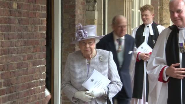 exterior shots of the queen and duke of edinburgh walking with the reverend canon paul wright after attending a service in the chapel royal of st... - chapel stock videos & royalty-free footage