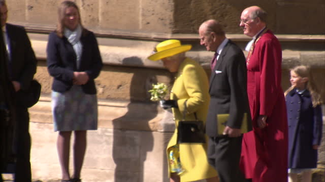 exterior shots of the queen and prince philip departing after attending the easter sunday service at st george's chapel >> on march 27 2016 in... - st. george's chapel stock videos and b-roll footage