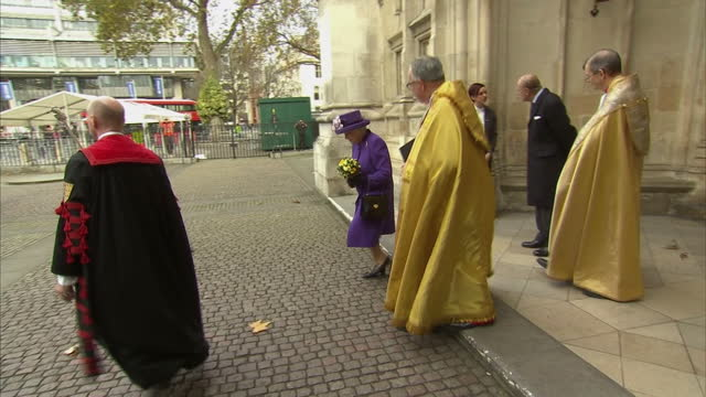exterior shots of the queen and prince philip duke of edinburgh departing from westminster abbey after attending a service of thanksgiving at... - westminster abbey stock-videos und b-roll-filmmaterial