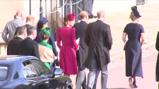 Exterior shots of The Queen and the Duke of Edinburgh departing in car and the rest of the Royal family walking away after the wedding of Princes...