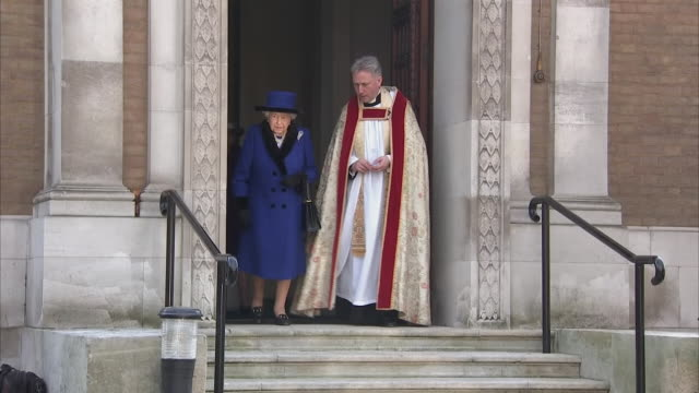 exterior shots of the queen departing guards' chapel after a service to commemorate the centenary of the royal army chaplains' department on 22... - gottesdienst stock-videos und b-roll-filmmaterial