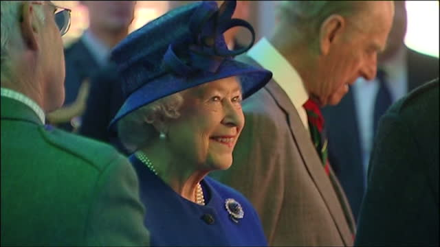 exterior shots of the queen elizabeth ii and prince philip arriving at culloden battlefield visitors centre on june 29, 2009 in inverness, scotland. - inverness scotland stock videos & royalty-free footage