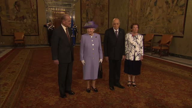 exterior shots of the queen prince philip arriving at ciampino airport greeted by italian president giorgio napolitano his wife clio napolitano in... - ciampino airport video stock e b–roll