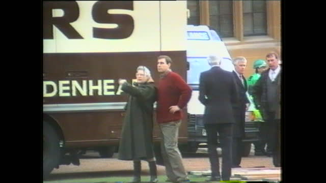 exterior shots of the queen speaking to fire crews and emergency services putting out the fire at windsor castle on november 20 1992 in windsor... - windsor england stock videos and b-roll footage