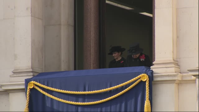 exterior shots of the queen watching remembrance day service from balcony as prince charles stands by the cenotaph on 8 november 2020 in london,... - memorial stock videos & royalty-free footage