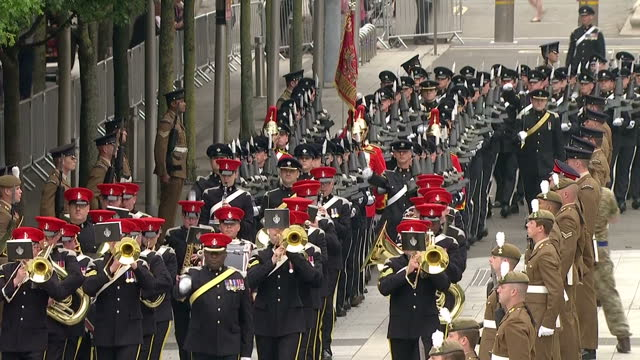 Exterior shots of The Queen's Dragoon Guards with the Band of The Royal Armoured Corps marching outside of the Senedd on June 07 2016 in Cardiff...