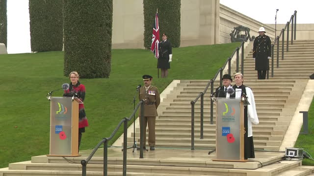 exterior shots of the remembrance sunday service taking place at the national memorial arboretum with attendees sat in socially distanced pairs on 8... - national memorial arboretum stock videos & royalty-free footage