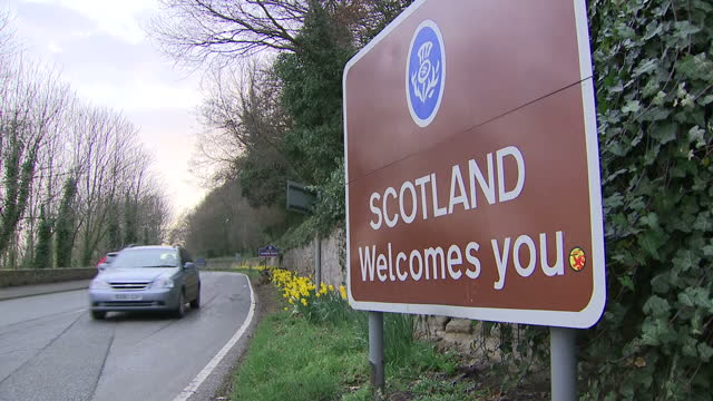 Exterior shots of the River Tweed Coldstream Bridge and roadsigns Scotland welcomes you Welcome to Scottish Borders on March 13 2017 in Coldstream...