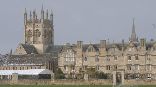 exterior shots of the rooftops of oxford university buildings with an lgbt flag flying on 9 february 2021 in oxford, united kingdom - university stock videos & royalty-free footage