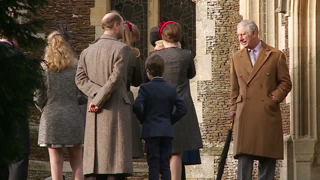 exterior shots of the royal family arriving at church for christmas day service including prince charles prince of wales camilla duchess of cornwall... - james viscount severn stock videos and b-roll footage
