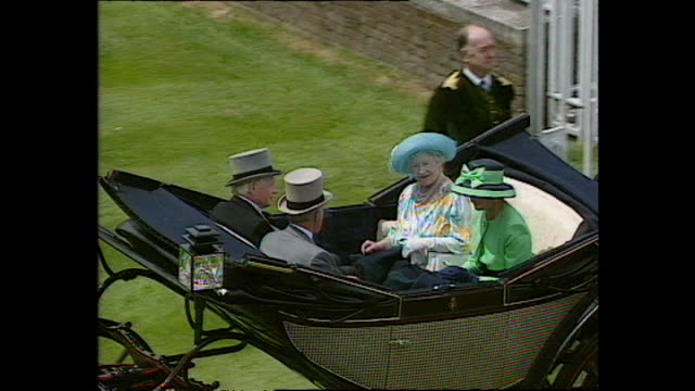 Exterior shots of the Royal family arriving at Royal Ascot in horse drawn carriages including Queen Elizabeth II Prince Philip Duke of Edinburgh...