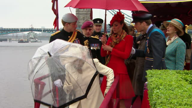 Exterior shots of The Royal Family departing Royal Barge The Spirit of Chartwell including The Queen Prince Philip Prince Charles Camilla Duchess of...