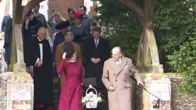 Exterior shots of the Royal family departing St Mary Magdalene Church after Christmas Day service including Prince Philip Duke of Edinburgh Prince...