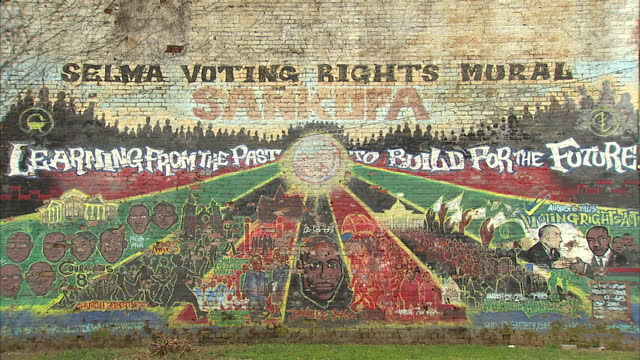 Exterior shots of the Selma voting rights mural with the slogan Learning from the past to build for the future>> on March 07 2015 in Selma Alabama