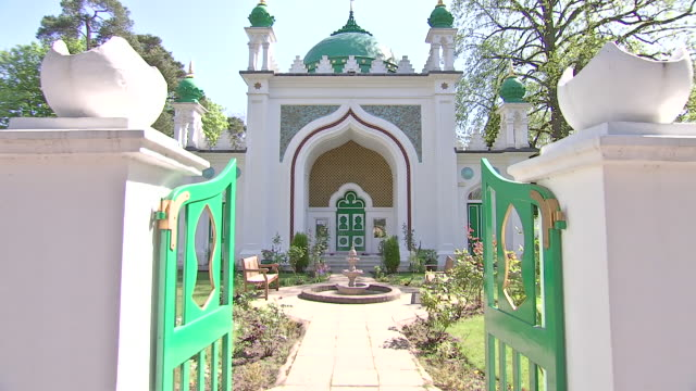 exterior shots of the shah jahan mosque in woking and landscaped gardens on 14 april 2020 in woking united kingdom - landscaped stock videos & royalty-free footage