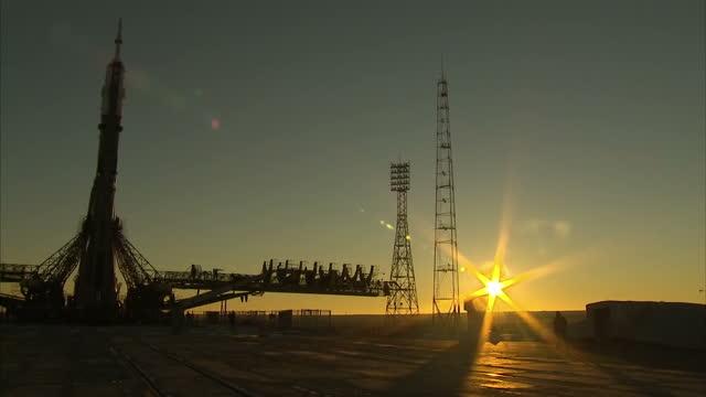 Exterior shots of the Soyuz Spacecraft on launch pad at dawn at Baikonur on December 13 2015 in Zhezkazgan Kazakhstan