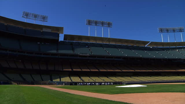 Exterior shots of the stadium stands empty pitch and floodlights of Dodger Stadium home of the LA Dodgers baseball team on December 27 2015 in Los...