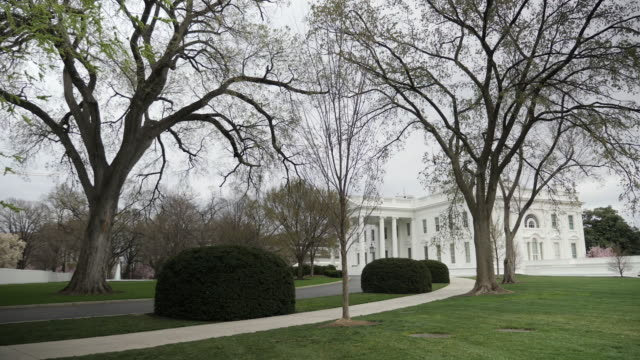 exterior shots of the white house and washington monument on an overcast day, with stars and stripes flag flying on 14 march 2020 in washington dc,... - la casa bianca washington dc video stock e b–roll