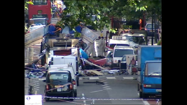 exterior shots of the wreckage of the bombed number 30 london bus at tavistock square after the july 7 london terrorist bombings on july 07 2005 in... - number 7 stock videos & royalty-free footage