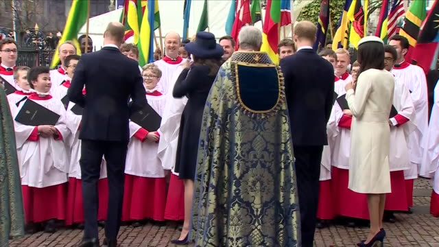 exterior shots of the young royals pregnant kate middleton prince william meghan markle and prince harry departing westminster abbey and meeting the... - kate middleton stock videos & royalty-free footage