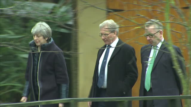 exterior shots of theresa may and environment secretary michael gove walking with martin spray chief executive of the wildfowl and wetlands trust at... - michael gove stock-videos und b-roll-filmmaterial