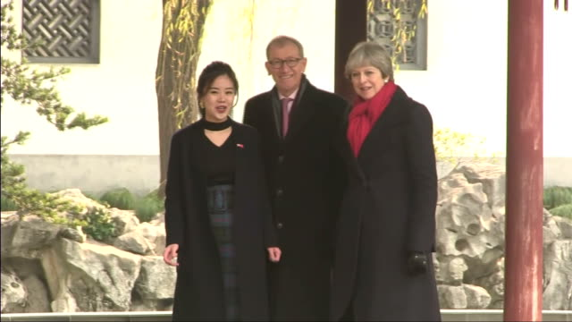 Exterior shots of Theresa May and her husband Philip touring the Yu Yuan Temple Gardens>> on February 02 2018 in Shanghai China