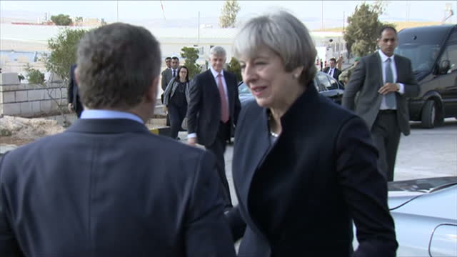 Exterior shots of Theresa May being greeted by King Abdullah II of Jordan as she arrives to visit a military base on April 03 2017 in Amman Jordan