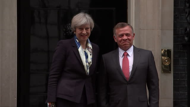 Exterior shots of Theresa May greeting King Abdullah II of Jordan as he arrives at Number 10 Downing Street on March 01 2017 in London England