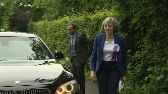 Exterior shots of Theresa May of the vote remain campaign arriving at a polling station to cast his vote on the UK EU referendum on June 23 2016 in...