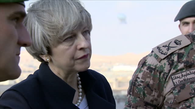 Exterior shots of Theresa May speaking to a group of soldiers as she tours a military base with King Abdullah II of Jordan on April 03 2017 in Amman...