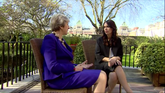 exterior shots of theresa may uk prime minister and jacinda ardern new zealand prime minister meeting at the back garden of 10 downing street... - 10 downing street stock videos and b-roll footage